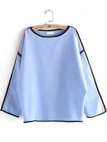 Blue Round Neck Contrast Trims Loose Blouse