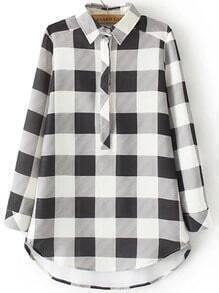 Black White Lapel Plaid Loose Blouse