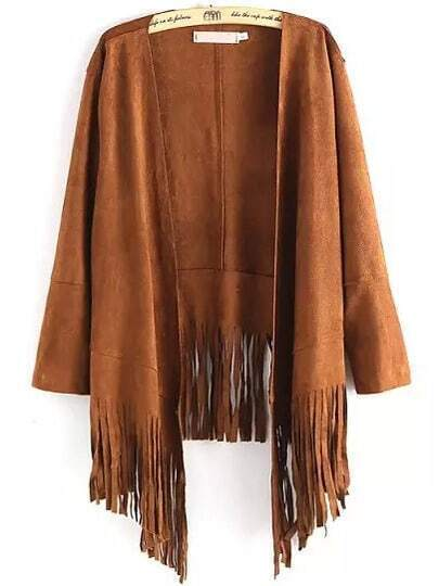Khaki Long Sleeve Tassel Loose Coat