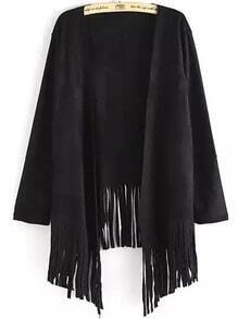 Black Long Sleeve Tassel Loose Coat