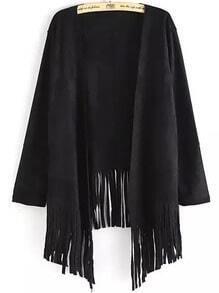 Black Long Sleeve Tassel Loose Coat