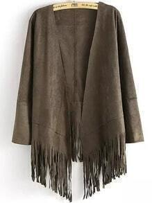 Grey Long Sleeve Tassel Loose Coat