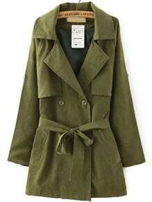 Army Green Lapel Tie-waist Trench Coat