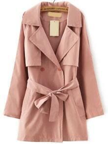 Pink Lapel Tie-waist Trench Coat