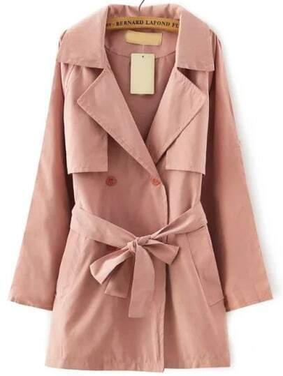 Pink Lapel Tie-waist Trench Coat