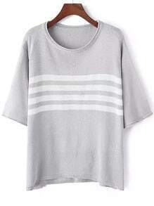 Grey Round Neck Striped Loose Sweater