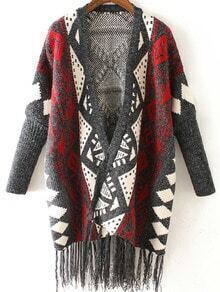 Grey Red Long Sleeve Geometric Print Tassel Cardigan
