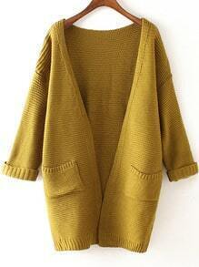 Yellow Long Sleeve Pockets Knit Loose Cardigan