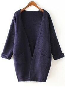 Navy Long Sleeve Pockets Knit Loose Cardigan