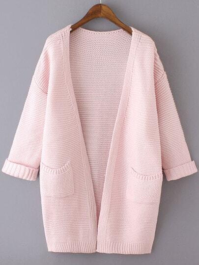 Pink Long Sleeve Pockets Knit Loose Cardigan