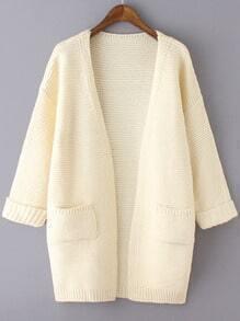 Beige Long Sleeve Pockets Knit Loose Cardigan