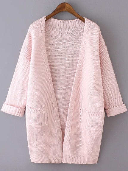 Pink Long Sleeve Pockets Knit Loose Cardigan -SheIn(Sheinside)