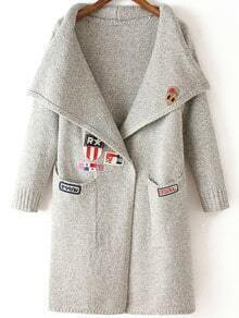 Light Grey Lapel Embroidered Pockets Knit Sweater
