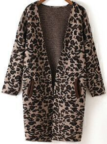 Khaki Long Sleeve Leopard Knit Cardigan