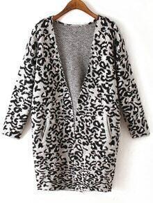 Grey Long Sleeve Leopard Knit Cardigan