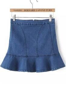 Blue Ruffle Denim Skirt