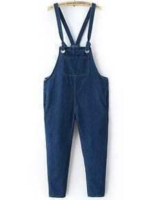 Blue Strap Pockets Denim Jumpsuit
