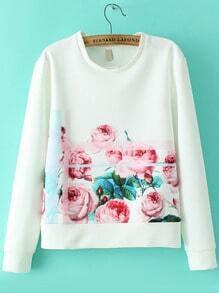 Multicolor Round Neck Floral Crop Sweatshirt