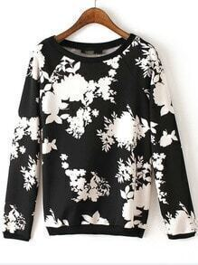 Black White Round Neck Floral Casual Sweatshirt
