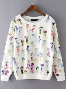 Multicolor Round Neck Jellyfish Print Sweatshirt