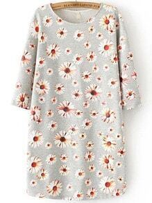 Grey Round Neck Daisy Print Straight Dress