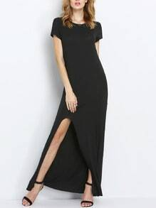 Black Short Sleeve Split Front Maxi Dress