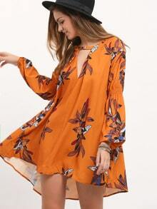 Yellow Long Sleeve V Neck Floral Dress