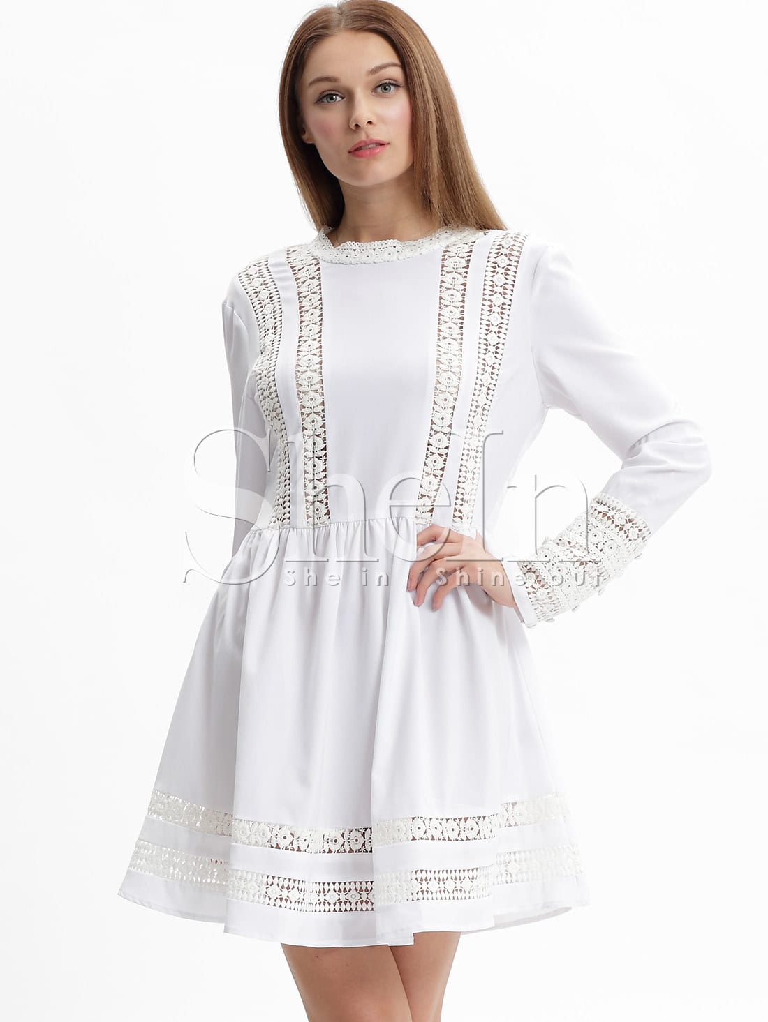 White Long Sleeve With Lace Babydoll Dress -SheIn(Sheinside)