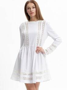 White Long Sleeve With Lace Babydoll Dress