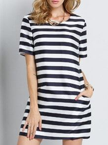 White Tees Short Sleeve Striped Pockets Dress