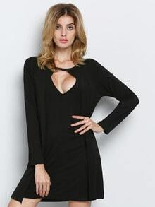 Black Long Sleeve Cut Out Dress