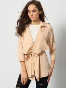 Apricot Long Sleeve Lapel Belt Trench Coat