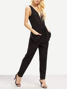 Black Sleeveless V Neck Zipper Slim Jumpsuit
