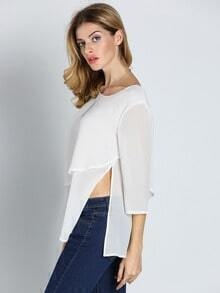 White Long Sleeve Ruffle Asymmetric Blouse