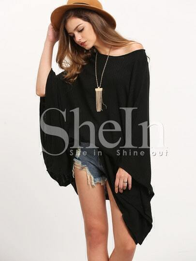 Black Cape Style Asymmetric Oversized Knitwear