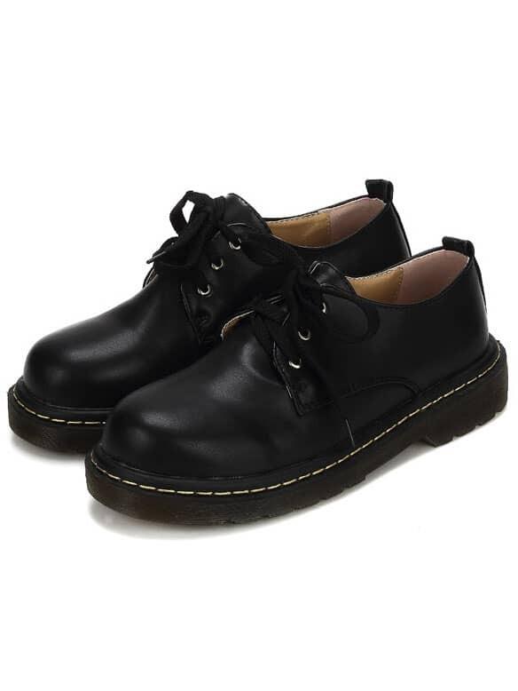 Black Lace Up PU Flats