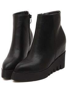 Black Pointy Zipper Side Wedges Boots