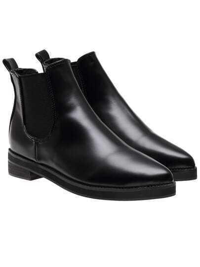 Black Pointy Elastic PU Flat Boots