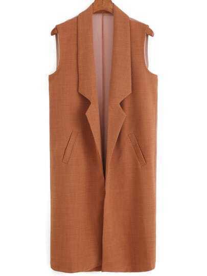 Notch Lapel Edge Pockets Brown Vest