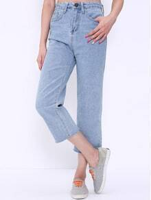 High Waist Frayed Denim Pant