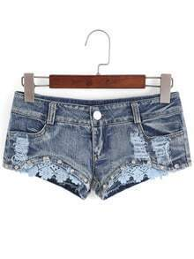 Contrast Lace Crop Denim Shorts