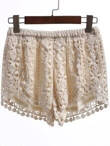 Elastic Waist Lace Crochet Split Beige Shorts