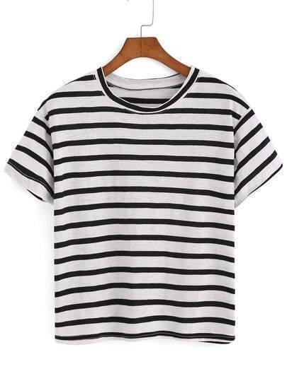 T-shirt à rayure - Noir
