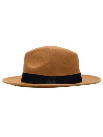 Khaki Wool Boater Hat