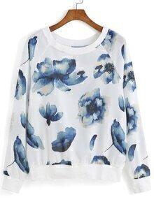 Floral Print Loose Sweatshirt