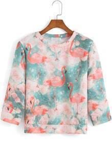 Half Sleeve Swan Print Sweatshirt