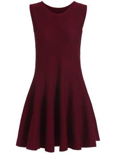 Burgundy Aubergine Sleeveless Knit Skating Dress