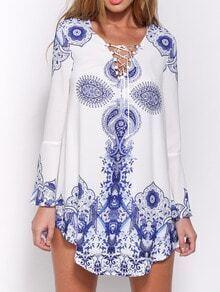 Bell Sleeve Self-Tie Beauty Paisley Print Dress
