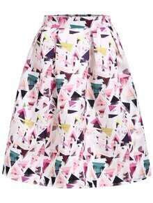 With Zipper Geometric Print Flare Skirt