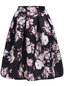 With Zipper Floral Print Flare Skirt